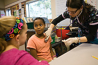 01262010- Clyde Hill elementary, Seattle University alumni Nurses, Christine Topinka '09 College of Nursing - works in childbirth center at Overlake Hospital, Linda Myrick's 4th grade class<br />