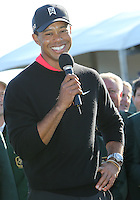 28 JAN 13  Tournament Champion Tiger Woods thanks the fans on18 green at the conclusion of Sunday's Final Round of The Farmers Insurance Open at Torrey Pines Golf Course in La Jolla, California. (photo:  kenneth e.dennis / kendennisphoto.com)
