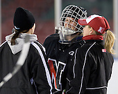 Florence Schelling (NU - 41) - The Northeastern University Huskies practice on the ice at Fenway Park on Thursday, January 7, 2010, in Boston, Massachusetts.