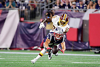 August 9, 2018: New England Patriots wide receiver Chris Hogan (15) drops a pass as Washington Redskins defensive back Danny Johnson (20) closed in during the NFL pre-season football game between the Washington Redskins and the New England Patriots at Gillette Stadium, in Foxborough, Massachusetts. The Patriots defeat the Redskins 26-17.  Eric Canha/CSM