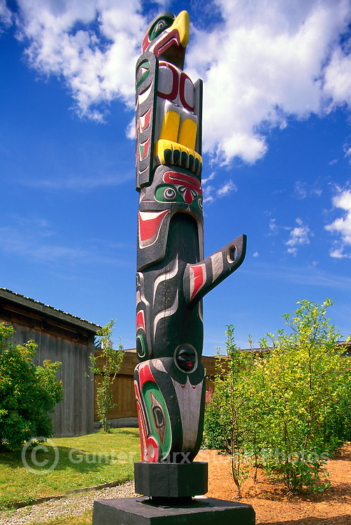 Kwakwaka'wakw (Kwakiutl) Totem Pole at U'mista Cultural Centre, Alert Bay, Cormorant Island, BC, British Columbia, Canada - Thunderbird sits atop Killer Whale