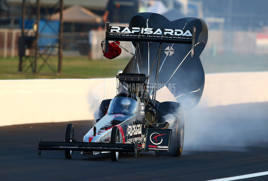 Aug. 30, 2013; Clermont, IN, USA: NHRA top fuel dragster driver Damien Harris  during qualifying for the US Nationals at Lucas Oil Raceway. Mandatory Credit: Mark J. Rebilas-