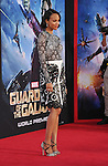 HOLLYWOOD, CA- JULY 21: Actress Zoe Saldana arrives at the Los Angeles premiere of Marvel's 'Guardians Of The Galaxy' at the El Capitan Theatre on July 21, 2014 in Hollywood, California.