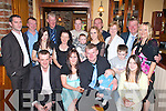 Deirdre Byrne Killarney and Michael O'Regan Gneeveguilla celebrate christening their baby Michael Damian in the Killarney Heights hotel on Sunday front row l-r: Anthony O'Regan, Deirdre Byrne, Michael O'Regan, Jennifer Byrne. Back row: Gerard Slattery, Adrian O'Regan, Rosia Byrne, Damian Byrne, Debbie Byrne, Peter Byrne, Clodagh Slattery, Josie Slattery, Dermot Regan, Laura O'Regan, Adam Slattery, Michael O'Regan and Michelle O'Regan  .   Copyright Kerry's Eye 2008
