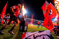 The Crusaders run out for the 2019 Super Rugby final between the Crusaders and Jaguares at Orangetheory Stadium in Christchurch, New Zealand on Saturday, 6 July 2019. Photo: Dave Lintott / lintottphoto.co.nz
