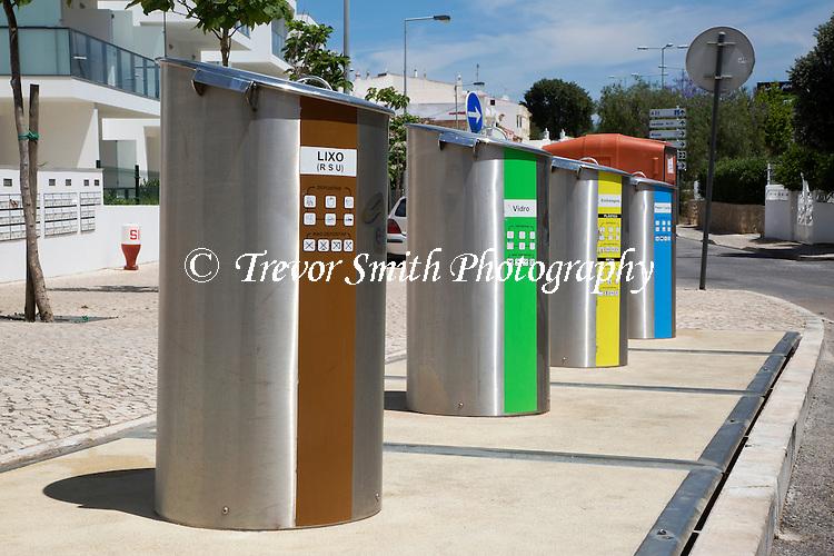 Roadside Recycling Bins in Alvor Portugal