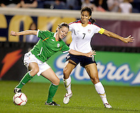 US midfielder Shannon Boxx (7) pressures Irish midfielder Mary McDonnell (17).  The US Women's National Team defeated Ireland 2-0 at Toyota Park in Bridgeview, IL on September 20, 2008.  Photo by Tracy Allen/isiphotos.com