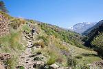 Woman hiker walking in the River Rio Poqueira gorge valley, High Alpujarras, Sierra Nevada, Granada Province, Spain