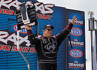 Sept. 1, 2013; Clermont, IN, USA: NHRA funny car driver Tim Wilkerson during qualifying for the US Nationals at Lucas Oil Raceway. Mandatory Credit: Mark J. Rebilas-