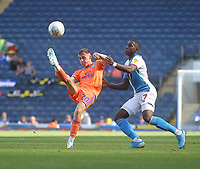 Blackburn Rovers Amari'i Bell in action with Cardiff City's Gavin Whyte<br /> <br /> Photographer Mick Walker/CameraSport<br /> <br /> The Premier League - Blackburn Rovers v Cardiff City - Saturday August 24th 2019 - Ewood Park - Blackburn<br /> <br /> World Copyright © 2019 CameraSport. All rights reserved. 43 Linden Ave. Countesthorpe. Leicester. England. LE8 5PG - Tel: +44 (0) 116 277 4147 - admin@camerasport.com - www.camerasport.com