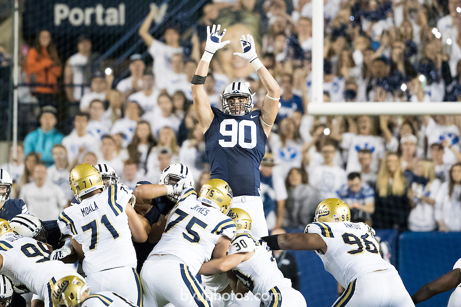 16FTB vs UCLA 2123<br /> <br /> 16FTB vs UCLA<br /> <br /> BYU Football vs UCLA<br /> <br /> BYU-14<br /> UCLA-17<br /> <br /> September 17, 2016<br /> <br /> Photo by Jaren Wilkey/BYU<br /> <br /> &copy; BYU PHOTO 2016<br /> All Rights Reserved<br /> photo@byu.edu  (801)422-7322
