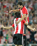 Athletic de Bilbao's Benat Etxebarria (l) and Mikel San Jose celebrate goal during Supercup of Spain 1st match.August 14,2015. (ALTERPHOTOS/Acero)