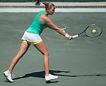 Shelby Rogers (USA) loses to Sara Sorribes Tormo (ESP) 7-5, 6-1 at the Family Circle Cup in Charleston, South Carolina on April 8, 2015.