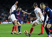4th November 2017, Camp Nou, Barcelona, Spain; La Liga football, Barcelona versus Sevilla; Leo Messi drives into the box against Pizarro of Sevilla