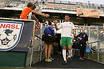20 September 2014: New York's Hunter Gorskie. The Carolina RailHawks played the New York Cosmos at WakeMed Stadium in Cary, North Carolina in a 2014 North American Soccer League Fall Season match. Carolina won the game 5-4.
