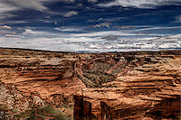 A view of the striated rock structure in Canyon del Muerto at Canyon de Chelly National Monument.