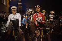 2 Worldtour fish out of the water: Kenny De Haes (BEL/Lotto-Soudal) &amp; Boy van Poppel (NLD/Trek Factory Racing), 2 world class road-racers (both sprinters) at the start of a cyclocross race<br /> <br /> Superprestige Diegem 2015