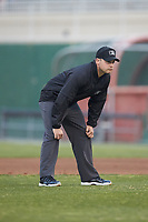 Umpire Colin Baron handles the calls on the bases during the South Atlantic League game between the Rome Braves and the Kannapolis Intimidators at Kannapolis Intimidators Stadium on April 4, 2019 in Kannapolis, North Carolina.  The Braves defeated the Intimidators 9-1. (Brian Westerholt/Four Seam Images)