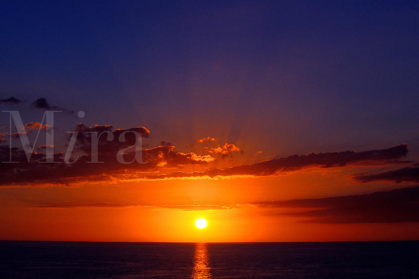 Sunset over ocean.