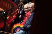 Emanuele Macaluso dell'Arcigay mostra un ventaglio color arcobaleno<br /> Roma 11-05-2016. Camera. Voto di fiducia sulle unioni civili. <br /> Rme 11th May 2016. Lower Chamber. Trust vote about Civil Unions<br /> Photo Samantha Zucchi Insidefoto