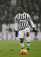 Juventus' Patrice Evra in action during the Italian Serie A football match between Juventus and Roma at Juventus Stadium.