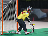 College Park, MD - April 19, 2018: Maryland Terrapins Megan Taylor (34) makes a save during game between Penn St. and Maryland at  Field Hockey and Lacrosse Complex in College Park, MD.  (Photo by Elliott Brown/Media Images International)