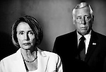 JULY 27, 2009: Speaker of the House Nancy Pelosi, D-Calif., and House Majority Leader Steny Hoyer, D-Md., listen as other House Democratic leaders speak at the Speaker's Balcony during their news conference on healthcare reform.
