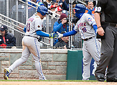 New York Mets shortstop Asdrubal Cabrera (13) is congratulated by catcher Travis d'Arnaud (18) after he scored the third and final run in the seventh inning against the Washington Nationals at Nationals Park in Washington, D.C. on Saturday April 7, 2018.  The Mets won the game 3-2.<br /> Credit: Ron Sachs / CNP<br /> (RESTRICTION: NO New York or New Jersey Newspapers or newspapers within a 75 mile radius of New York City)