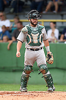 Beloit Snappers catcher Josh Ludy (32) during a game against the Clinton LumberKings on August 17, 2014 at Ashford University Field in Clinton, Iowa.  Clinton defeated Beloit 4-3.  (Mike Janes/Four Seam Images)