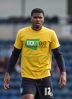 Rowan Liburd of Wycombe Wanderers in his Kick it Out shirt during the Sky Bet League 2 match between Wycombe Wanderers and Stevenage at Adams Park, High Wycombe, England on 12 March 2016. Photo by Andy Rowland/PRiME Media Images.