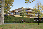 LONGCHAMP, FRANCE - October 06, 2018: View from stable area of the Longchamp race track at the new Grandstand