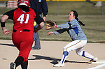 Wildcats' Andi Lee makes the out against Colorado Northwestern's Cailee Kelly at Edmonds Sports Complex in Carson City, Nev., on Friday, Feb. 21, 2014.<br /> Photo by Cathleen Allison/Nevada Photo Source