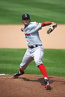 Pawtucket Red Sox pitcher Noe Ramirez (24) delivers a pitch during a game against the Syracuse Chiefs on July 6, 2015 at NBT Bank Stadium in Syracuse, New York.  Syracuse defeated Pawtucket 3-2.  (Mike Janes/Four Seam Images)