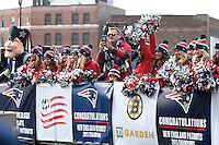 February 4, 2015 - Boston, Massachusetts, U.S. - Former New England Patriot Scott Zolack rides with the cheerleaders during a parade held in Boston to celebrate the team's victory over the Seattle Seahawks in Super Bowl XLIX. Eric Canha/CSM