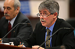 Bob Hallstead, executive director of the Nevada Agency for Nuclear Projects testifies in a hearing at the Legislative Building in Carson City, Nev. on Tuesday, Feb. 5, 2013. .Photo by Cathleen Allison