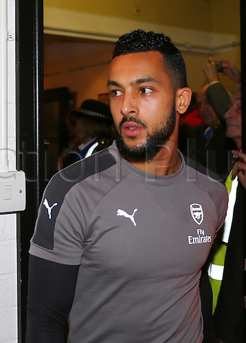 February 20th 2017, The Borough Sports Ground, Sutton, Surrey, England; FA Cup 5th Round football, Sutton United versus Arsenal FC; Theo Walcott of Arsenal arrives at The Borough Sports Ground