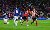 Lincoln City's Harry Anderson, right, celebrates scoring the opening goal with team-mate Bruno Andrade<br /> <br /> Photographer Chris Vaughan/CameraSport<br /> <br /> The Carabao Cup Second Round - Lincoln City v Everton - Wednesday 28th August 2019 - Sincil Bank - Lincoln<br />  <br /> World Copyright © 2019 CameraSport. All rights reserved. 43 Linden Ave. Countesthorpe. Leicester. England. LE8 5PG - Tel: +44 (0) 116 277 4147 - admin@camerasport.com - www.camerasport.com