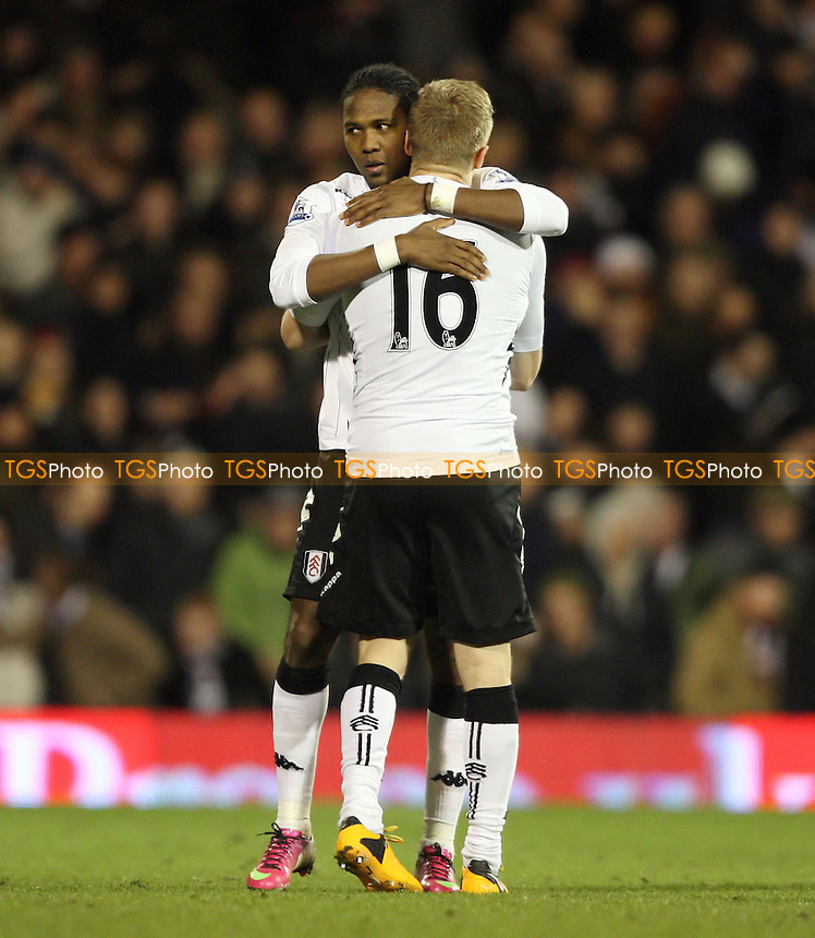 Hugo Rodallega of Fulham is congratulated by Damien Duff after scoring the 2nd goal for Fulham - Fulham vs West Ham United, Barclays Premier League at Craven Cottage, Fulham - 30/01/13 - MANDATORY CREDIT: Rob Newell/TGSPHOTO - Self billing applies where appropriate - 0845 094 6026 - contact@tgsphoto.co.uk - NO UNPAID USE.