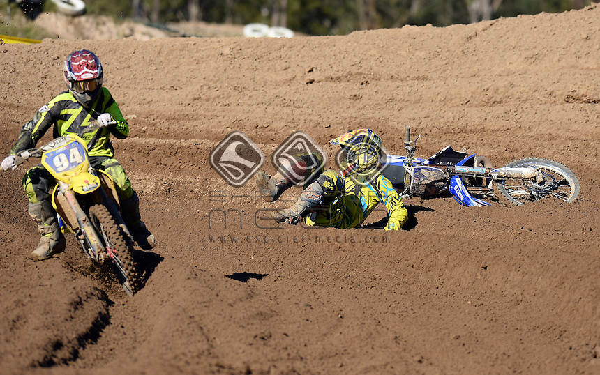 Jaiden Corrigan / Yamaha<br /> MX Nationals / Round 6 / MXD<br /> Australian Motocross Championships<br /> Raymond Terrace NSW<br /> Sunday 5 July 2015<br /> &copy; Sport the library / Jeff Crow