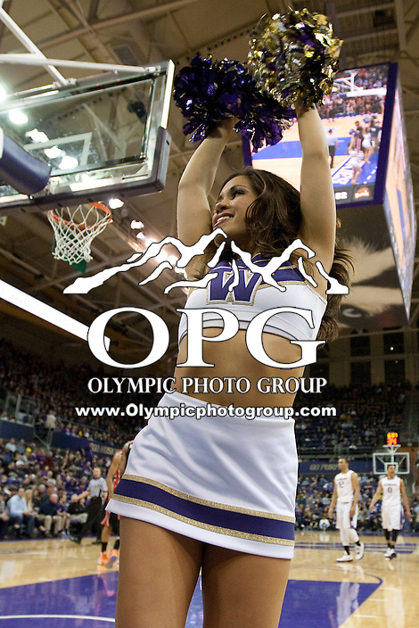 Feb 16, 2013:  Washington cheer leader Leilani Borst entertained fans during the game against Oregon State. Washington defeated Oregon State 72-62 at Alaska Airlines Arena Seattle, Washington...