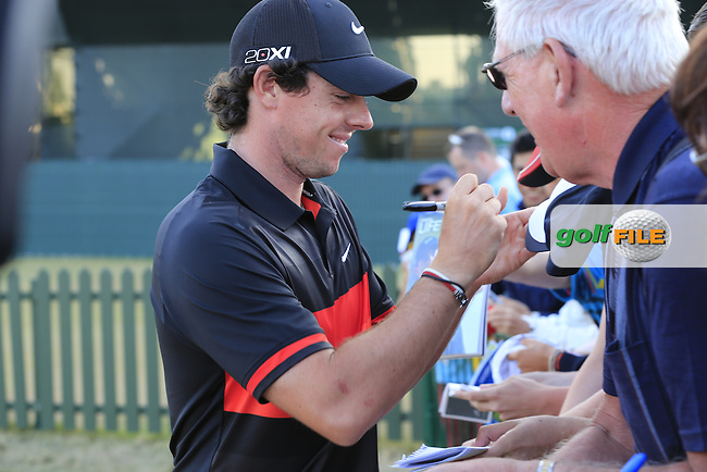 Rory MCILROY (NIR) signs autographs for fans of all ages after round two of  The 142th Open Championship Muirfield, Gullane, East Lothian, Scotland 19/7/2013<br /> Picture Fran Caffrey www.golffile.ie: