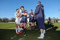 Bedford Blues players applaud the London Scottish players after the Greene King IPA Championship match between London Scottish Football Club and Bedford Blues at Richmond Athletic Ground, Richmond, United Kingdom on 25 March 2017. Photo by David Horn / PRiME Media Images.