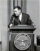 Washington, DC - July 6, 2009 -- Former United States Secretary of Defense Robert S. McNamara, Architect of Vietnam War, died in his sleep at his home in Washington in the early morning of Monday, July 6, 2009. McNamara, who served as Secretary of Defense under Presidents Kennedy and Johnson, was 93.  This file photo dated February 6, 1963, shows McNamara straining to hear a question during the question-and-answer period that followed a briefing on the Cuban situation.  During the briefing, which was carried live on radio and TV, newsmen and the public were shown before and after photos of the Cuban missile sites..Credit: Arnie Sachs / CNP