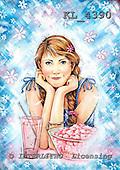 Interlitho, Theresa, TEENAGERS, paintings, girl, popcorn, glass, KL4390,#j# Jugendliche, jóvenes, illustrations, pinturas ,everyday