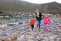 Caragh Murphy and children Emily and Marie Mulvihill from Glenbeigh, County pictured at the damaged playground on Rossbeigh Beach in County Kerry at the weekend. The playground, roadway, shop and public toilets were badly damaged during Storm Darwin.<br /> Picture by Don MacMonagle Story by Ralph Riegal