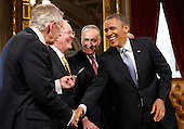 United States President Barack Obama, right, shares a laugh with, from left to right: U.S. Senate Majority Leader Harry Reid (Democrat of Nevada), U.S. Senator Lamar Alexander (Republican of Tennessee), and U.S. Senator Chuck Schumer (Democrat of New York) after signing a proclamation to commeorate the inauguration, entitled a National Day of Hope and Resolve, directly after swearing-in ceremonies in the U.S Capitol in Washington, January 21, 2013. .Credit: Jonathan Ernst / Pool via CNP