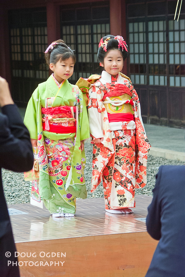 Little girls in traditional dress, Tokyo, Japan
