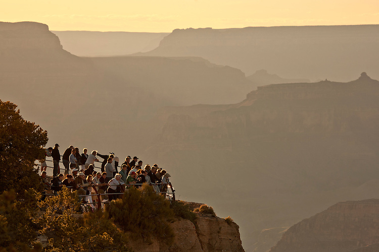 Visitors at the Hopi Point overlook along the South Rim of the Grand Canyon