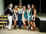 Karen Quest cowgirl, with Miss Amador and her court at the Biagi Family Stage. Sunday at the 80th Amador County Fair, Plymouth, Calif.<br /> .<br /> .<br /> .<br /> .<br /> #AmadorCountyFair, #1SmallCountyFair, #PlymouthCalifornia, #TourAmador, #VisitAmador
