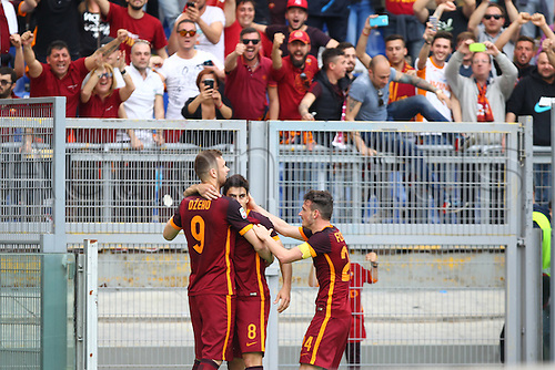03.04.2016. Stadium Olimpico, Rome, Italy.  Serie A football league. Derby Match SS Lazio versus AS Roma. Celebration after the goal from Perotti Diego for 1-4